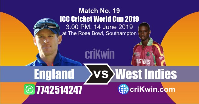 World Cup 2019 England vs West Indies 19th Match Win Prediction