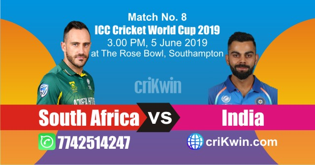 World Cup 2019 South Africa vs India 8th Match Win Prediction