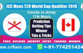 ICC T20 Qualifier 100% Sure Today Match Prediction JER vs CAN 11th T20 Match Cricket True Astrology Winner Tips Toss Reports CAN vs JER Who will win today