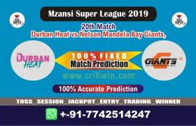 MSL T20 2019 Today Match Prediction NMG vs DUR 20th, Who Will Win