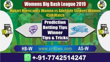 WBBL 2019 Today Match Prediction AS-w vs HB-W 45th Match Who Will Win
