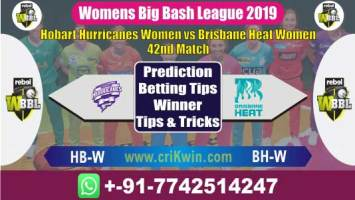 WBBL 2019 Today Match Prediction BH-W vs HB-W 42nd Who Will Win