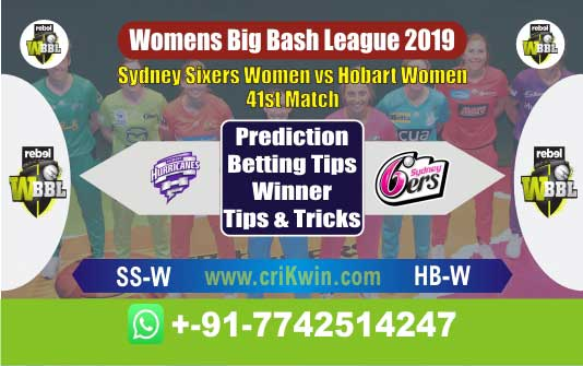 WBBL 2019 Today Match Prediction SS-W vs HB-W 41st Who Will Win