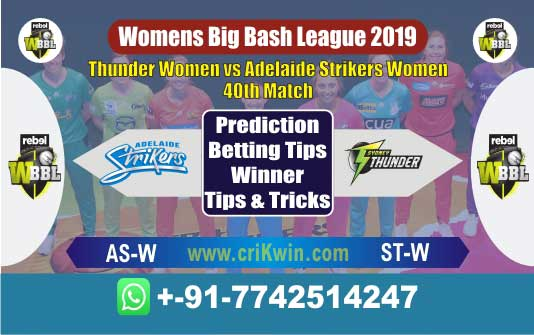 WBBL 2019 Today Match Prediction ST-W vs AS-W 40th Who Will Win