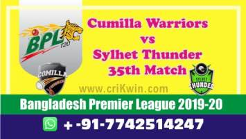 BPL 2020 Today Match Prediction SYL vs CUW 35th 100% Sure Win Tips
