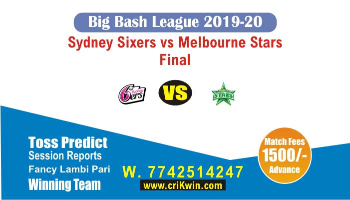 BBL 2019-20 Sta vs Six Final Today Match Prediction 100% Sure Win