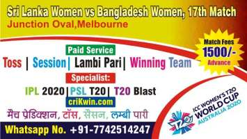 100% Sure Today Match Prediction SLW vs BDW 17th Womens WC T20
