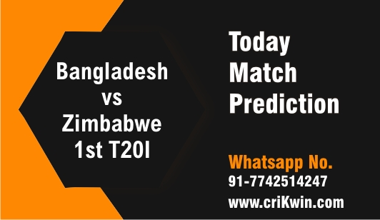 100% Sure Today Match Prediction Zim vs Ban 1st International T20 Tips