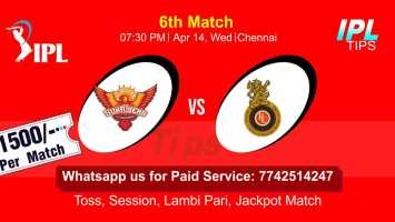 Today Match Prediction Royal Challengers Bangalore vs Sunrisers Hyderabad 6th Match Who Will Win IPL T20 100% Sure? RCB vs SRH Vivo Indian Premier League Predictions