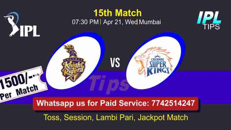 KKR vs CSK IPL T20 15th Match 100% Sure Today Prediction Win Tips