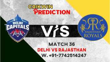 IPL 2021 DC vs RR 36th Match 100% Sure Today Match Prediction Tips