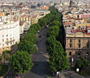 La Rambla boulevard in Barcelona.