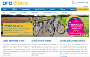 Website van de gedupeerde bedrijf 'Pro E-bike' in IJsselstein © screenshot