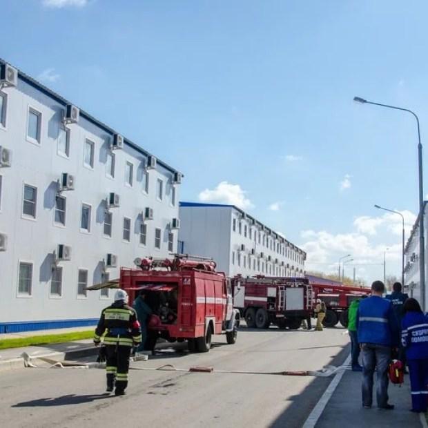 На стройплощадке Крымского моста прошли учения МЧС