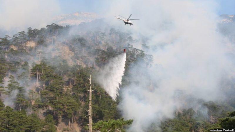 Причина крупного пожара в горах над Ялтой – поджог?
