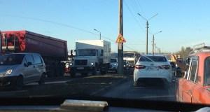 Утренние пробки на Объездной в Симферополе