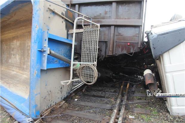 ДТП на железнодорожном переезде в Керчи: грузовик попал под поезд