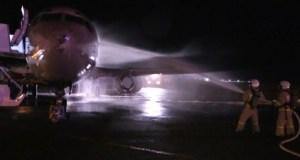 В симферопольском аэропорту пожарные «тушили» самолет