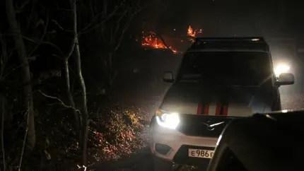 В Симферопольском районе введён режим ЧС. Причина - крупный лесной пожар