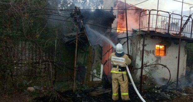 Пожар в Нижнегорском районе Крыма