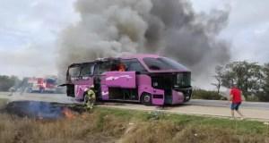 """ЧП на трассе """"Таврида"""": загорелся рейсовый автобус"""