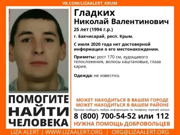 В Крыму разыскивают мужчину - пропал Николай Гладких