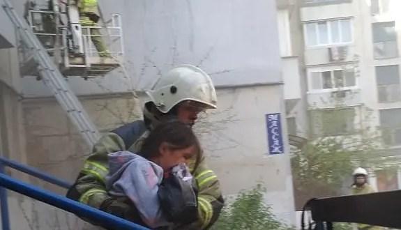 Утренний пожар в Феодосии