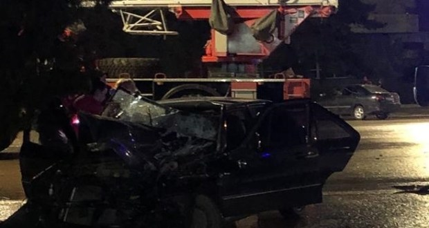 Ночное ДТП с пожарной машиной в Керчи