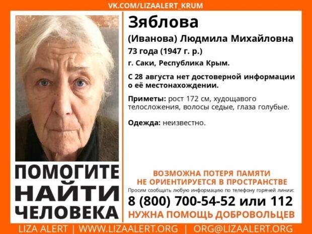 Внимание, поиск! В Саках без вести пропала 73-летняя женщина