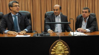 Barroetaveña, en el centro, integró el tribunal que condenó a Pedraza.
