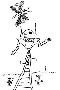 A drawing of Sugar the Robot on a pylon while Tim is trying to knock him down with an RC dragonfly