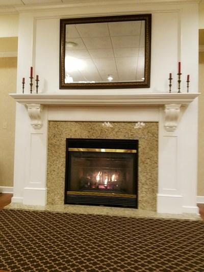 A warm fireplace.