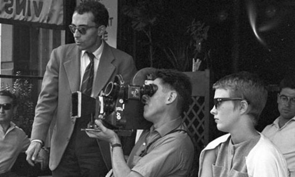 Jean-Luc Godard with Raoul Coutard and Jean Seberg. Photo: Raymond Cauchetier