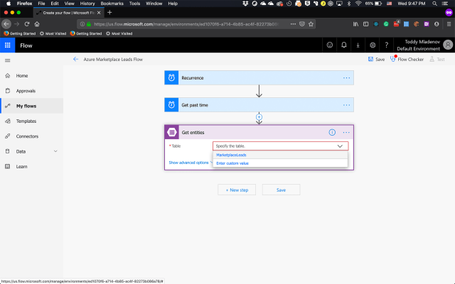 Microsoft Flow Select Azure Table Action
