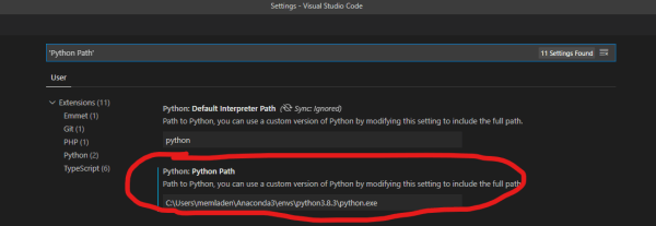 VS Code Python Path Setting