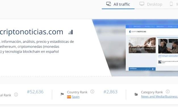 Criptonoticias se consolida como o méio de referência em espanhol para negócios, de acordo com os dados de Similarweb