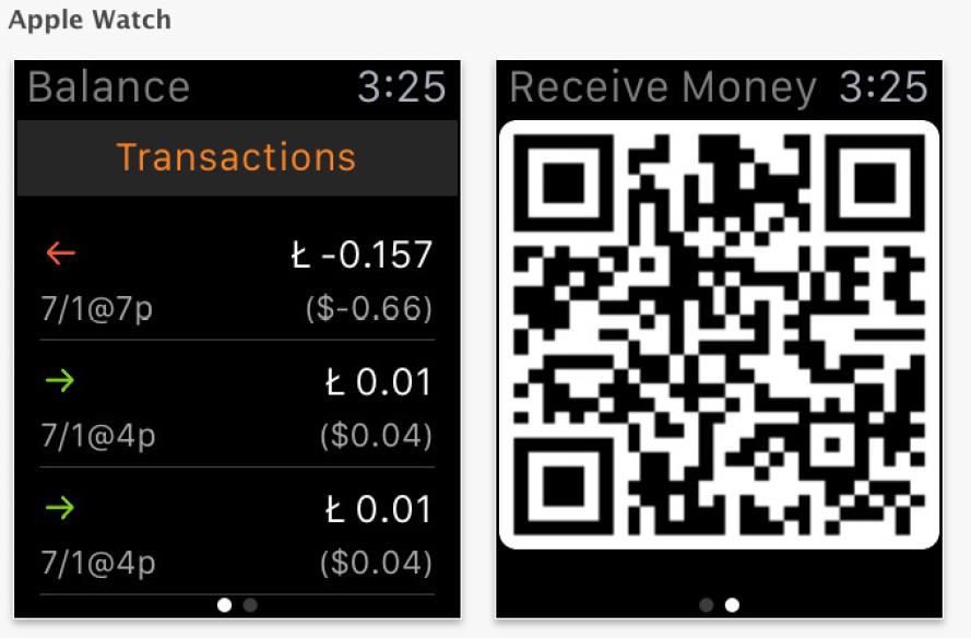 la cartera de Litecoin ofrece una versión para dispositivos de Apple Watch. Fuente: App Store