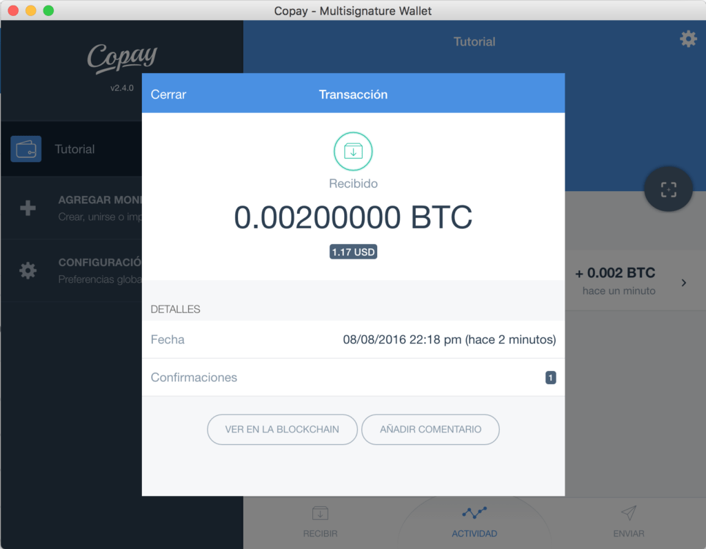 Tutorial Copay Bitcoins Confirmados
