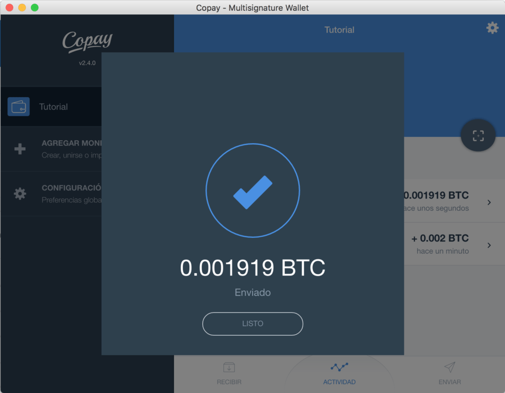Tutorial Copay Bitcoins Enviados