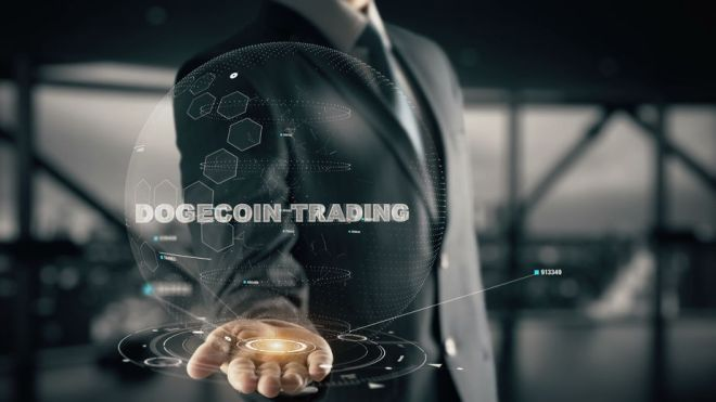 86371040 - dogecoin trading with hologram businessman concept