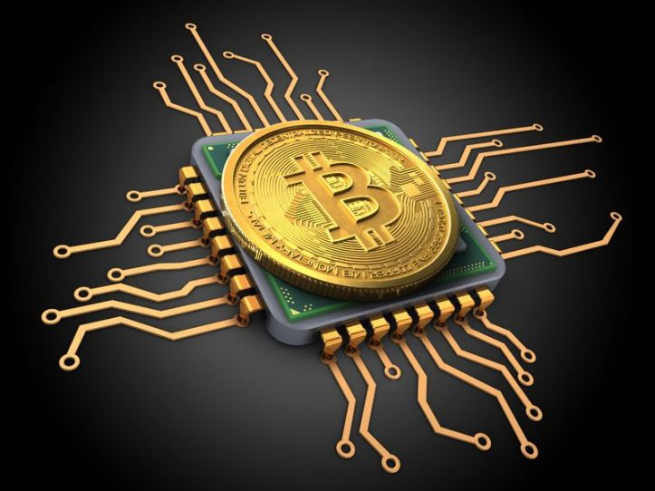 89306726 - 3d illustration of bitcoin over black background with cpu
