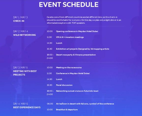 Programa evento tecnológico Dubai