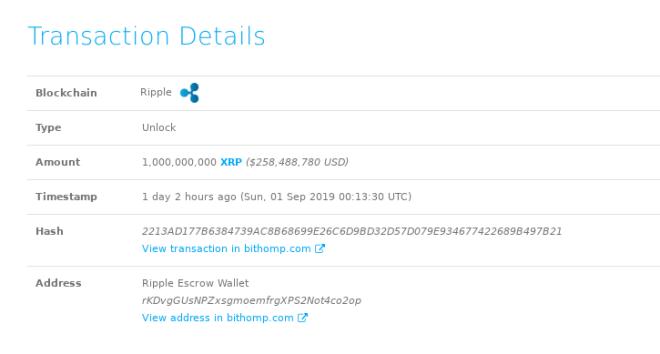 Transacción de una ballena por 1.000.000.000 XRP
