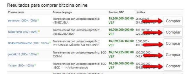 LocalBitcois: Pantalla con las opciones para comprar Bitcoin