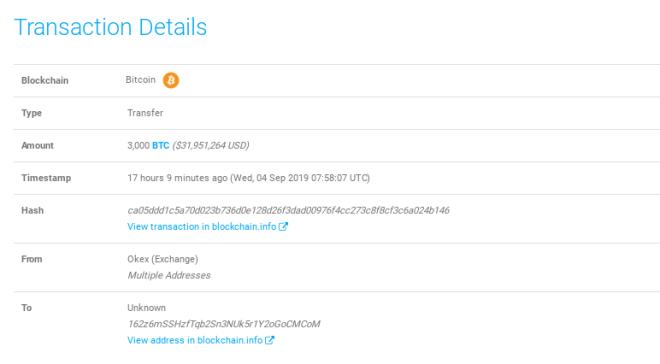 Movimiento de una ballena Bitcoin
