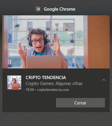 Ejemplo de una notificación de CriptoTendencia