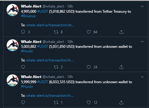 Más transacciones de las ballenas crypto en USDT