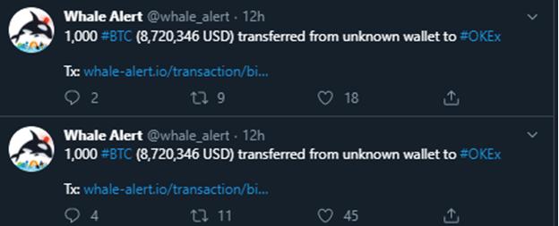 Más movimientos de las ballenas crypto en el exchange OKEx