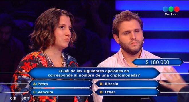 Pregunta Criptomonedas, Quién Quiere Ser Millonario Argentina