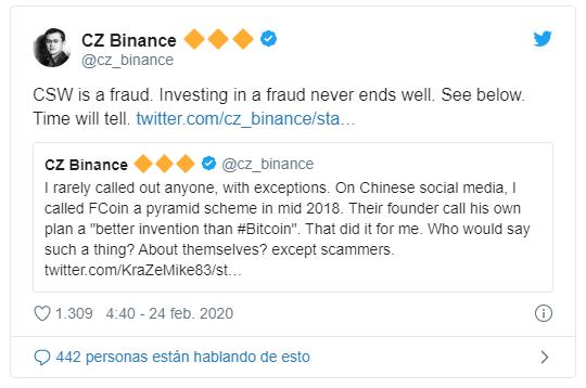 Tweet Changpeng Zhao hacia Craig Wright